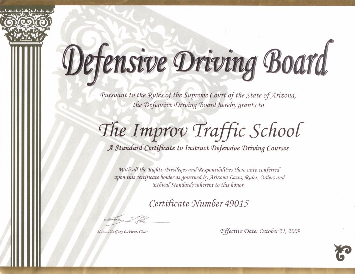 picture about Defensive Driving Course Online Texas Printable Certificate named Arizona Defensive Powering College or university via Improv