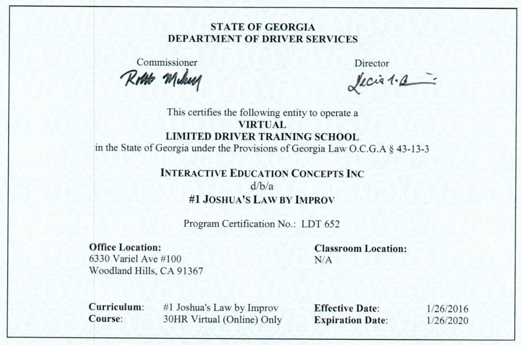 picture about Defensive Driving Course Online With Printable Certificate named Ga Motorists Ed On line Joshuas Legislation Ga IMPROV®