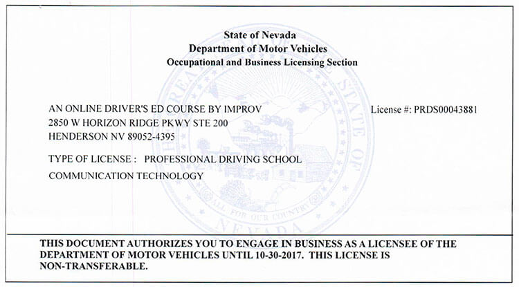 Nevada drivers ed nevada drivers license course by improv view our certification xflitez Image collections