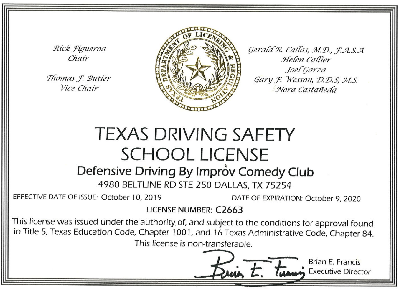 picture relating to Defensive Driving Course Online Texas Printable Certificate called Texas Defensive Behind by way of Improv