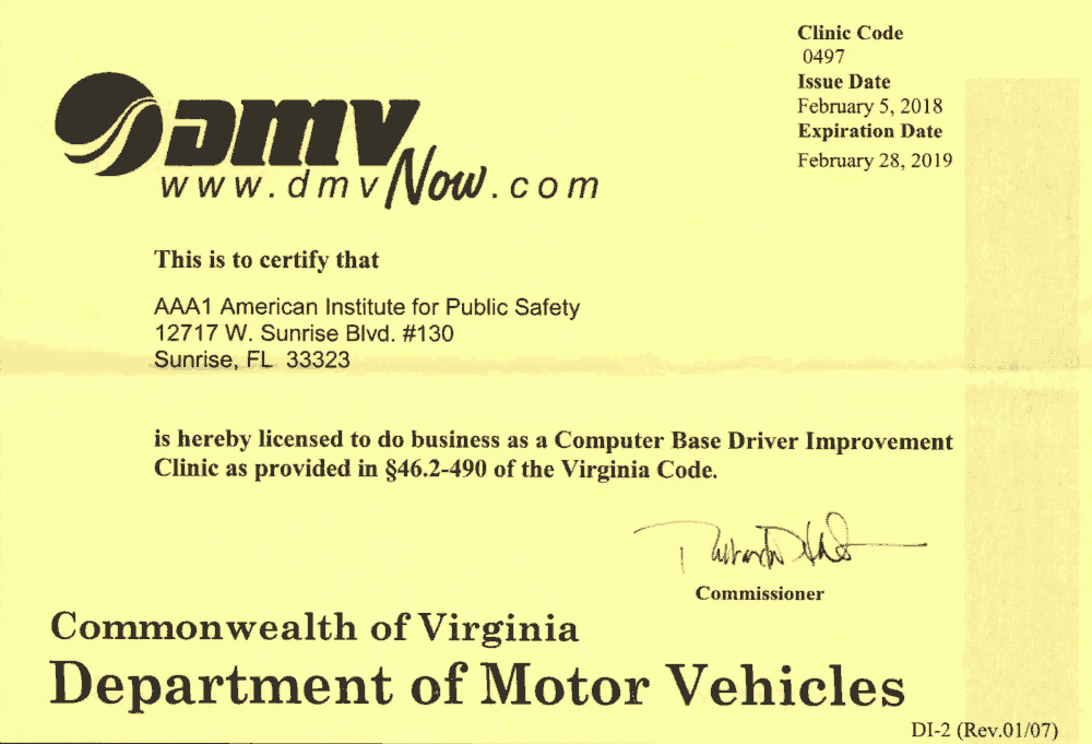 picture about Defensive Driving Course Online With Printable Certificate known as Virginia Visitors Faculty via Improv