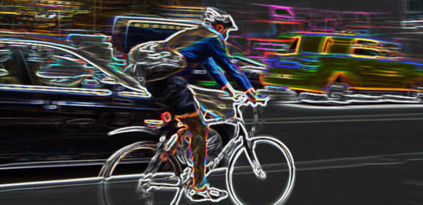 Cool illustration of cyclist speeding on bike for a blog on getting a speeding ticket on a bicycle